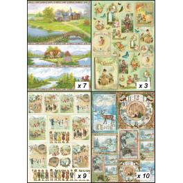 Assortimento carte dècoupage 50x70cm - Paesaggi e Stagioni