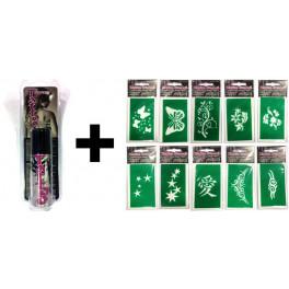 Kit Spray Tattoo nero 50ml + Stencil