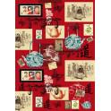 Decoupage 50x70 Antica Cina su fondo rosso