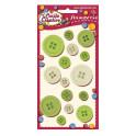 Conf. 15 bottoni misure assortite - nuance verde