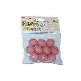 Conf. 10 palline con buco diam. cm. 2 - Rosa